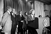 Mrs. Ford reads President Ford's concession speech to the press. November 3, 1976