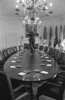 First Lady Betty Ford dances on the Cabinet Room table on the day before departing the White House upon the inauguration of President Jimmy Carter.   January 19, 1977.