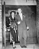 Newlyweds Gerald and Betty Ford depart Grace Episcopal Church following their wedding ceremony. Grand Rapids, Michigan. October 15, 1948.