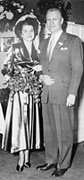 Newlyweds Gerald and Betty Ford pose for a wedding photograph in Grace Episcopal Church. Grand Rapids, Michigan. October 15, 1948.