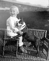 Gerald Ford with his pet Boston Terrier. Different sources identify the dog as either Spot or Fleck