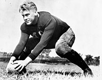 Gerald Ford on the football field at the University of Michigan