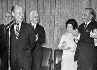 President and Mrs. Lyndon B. Johnson, Senate Majority Leader Mike Mansfield (MT), Speaker of the House John McCormack and others salute House Minority Leader Gerald R. Ford