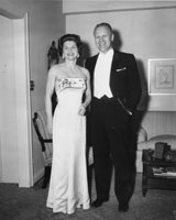 Gerald and Betty Ford dressed for a White House reception. April 18, 1961