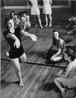 Betty (front left) in a Bennington College Summer School of Dance class taught by Martha Hill (right center). Bennington, Vermont. 1937.