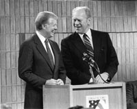 Former Presidents Jimmy Carter and Gerald R. Ford co-host an All-Democracies Conference, bringing together leaders from 44 democracies worldwide, at the Gerald R. Ford Library in Ann Arbor, Michigan.  February 9, 1983.