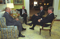 Three former presidents join President Bill Clinton in the White House for a NAFTA Breakfast Meeting, September 14, 1993.