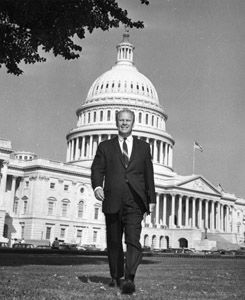 Congressman Gerald Ford in front of the U.S. Capitol