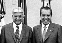 Federal Reserve Board Chairman Arthur Burns and President Richard Nixon
