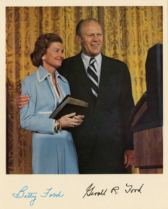Photograph of Betty and Gerald Ford with pre-printed signatures