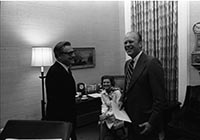 Ford, Rockefeller and the First lady in the President's private office
