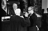 Rockefeller being sworn in by Chief Justice Burger